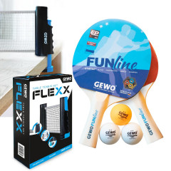 GEWO Set 1x Bat Set Double Fun + 1x Net Flexx